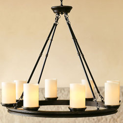 "Veranda Round Chandelier - Dimensions: 32""Diamater x 28""H. 6' chain. Constructed of brass tubing, aluminum rings and die-cast zinc components. Finished in antique bronze and sealed with lacquer for rust resistance. Ivory frosted-glass shades."