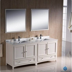 "Fresca - Fresca Oxford 72"" Traditional Double Sink Bathroom Vanity - Antique White - Fresca's Oxford collection is just what you have been looking for. Solid construction with wonderful soft-close dovetail drawers. Available in the rich finishes of Espresso, Antique White and Mahogany. All of the vanities in the Oxford line come with seamless Quartz Stone Countertop and Backsplash. Many faucet styles to choose from. Bring the clean lines of the Oxford from Fresca into your home for many years of enjoyment. Features Antique White Finish Solid Wood Frame, MDF Panels Quartz Stone Countertop Ceramic Undermount Sinks with Overflow Single Hole Faucet Mounts (Faucets Shown In Picture May No Longer Be Available So Please Check Compatible Faucet List) 4 Soft Close Doors 2 Soft Close Dovetail Drawers Seamless Countertop with Matching Backsplash Mirrors Included P-trap, Faucets, Pop-Up Drains and Installation Hardware Included How to handle your counter Installation Guide"