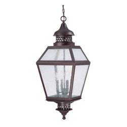 """Savoy House - Chiminea 14"""" Steel Hanging Lantern - A New Orleans inspired outdoor style that is destined to become a bestseller, crafted to mimic the appearance of an antique gas lantern. The English Bronze finish and pale cream seeded glass add to the family's tremendous value."""