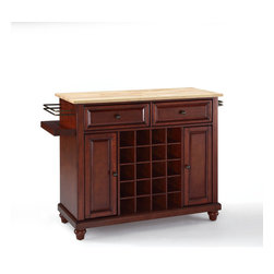 Crosley Furniture - Crosley Furniture Cambridge Natural Wood Top Wine Island in Vintage Mahogany - Wine lovers will entertain in style with Crosley's Kitchen Wine Cart.  Whether you're a connoisseur of fine wines or simply a casual fan, Crosley's Kitchen Wine Cart offers the utmost in entertaining convenience.  The cabinet features a 20-bottle wine rack and side-mounted 3-bottle wine valet and the top provides ample surface space for presentation of your wine and cheese alike. Raised panel doors conceal the adjustable inner shelving and two sliding drawers provide several options for storage. Wine cabinets come in one of four signature Crosley finishes featuring one of four surfaces - including wood, stainless steel or solid granite.