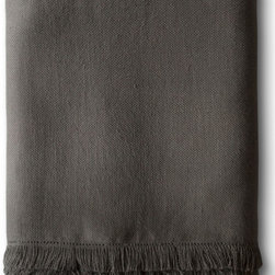 The Linen Works - Charcoal Fringe Linen Throw - Our Fringe Throws are perfect for draping over a sofa or across a bed. Made from our heavier Motte linen with a fringe border. Also available in Pale Grey and Charcoal.