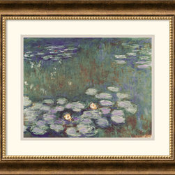 Amanti Art - Water Lilies Framed Print by Claude Monet - Water lilies became Monet's favorite motif in his twilight years. The shimmering quality of his brushstrokes remain one of the most captivating qualities in his work--a perennial best seller.