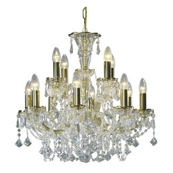"""Inviting Home - Maria Theresa Crystal Chandeliers (Premium Crystal) - clear and gold Maria Theresa style crystal chandelier; 23"""" x 21""""H (12 lights); assembly required; 12 light clear and gold Maria Theresa style premium crystal chandelier with hand-molded arms and cut crystal trimmings; all metal parts have pained gold finish; genuine Czech crystal; * ready to ship in 2 to 3 weeks; * assembly required; This chandelier is a part of Maria Theresa Collection. At their start the chandeliers bearing the name of Maria Theresa were made on the occasion of the Empress's coronation as queen of Bohemia in 1743. This fact is hidden in the shape of these lighting fixtures reminiscent of the royal crown. Their characteristic feature is the arms' typical flat surface clad with glass bars. The bars are fixed to the arms by glass rosettes and beads with dangling cut crystal chandelier trimmings. These ravishing fixtures were inspired by a chandelier made for Maria Theresa in Bohemia in the mid 18th century. However not only the empress became fond of it; so did many others who fancied the style and the majestic manners after her. Typical elements are metal arms overlaid with glass bars and decorated with crystal rosettes. Originally the trimming was made of typical flat drops called """"pendles"""". Today trimmings of various shapes are used. Premium crystal. A sumptuous type of chandelier trimmings. Fire of the rainbow spectrum brilliance limpidity glitter and perfect scattering and dispersion of light - these are their main features resulting from precise cutting using electronically controlled machines but also from high quality crystal containing more then 30% of lead. Traditional mastery and the revealed mystery of the glass substance blend together with modern technologies and first-rate design in each of these unique pieces. Chandeliers dressed with these trimmings of exceptional beauty will lend an air of grandeur to the ambiance even of the most prestigious interiors. Every comp"""