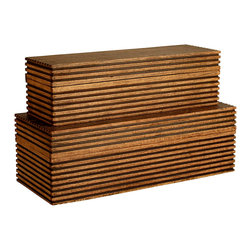 Kathy Kuo Home - Modern Carved Wood Trinity Large Boxes- Set of 2 - Channeling Scandinavian, Japanese and Mid Century Modern attitude isn't always easy, however this pair of textural wooden boxes make it a breeze.  Perfect for hiding remotes and other mundane items, form and function are perfectly realized in this pair.
