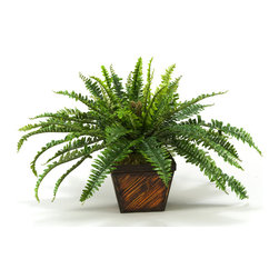 "D&W Silks - Artificial Fern in Square Bamboo Planter - It's amazing how much adding a plant can change the look of a room or decor, but it can be difficult if your space is not conducive to growing plants, or if you weren't exactly born with a ""green thumb."" Invite the beauty of nature into your home without all the upkeep with this maintenance-free, allergy-free arrangement of an artificial fern in a square bamboo planter. This is not a living plant."