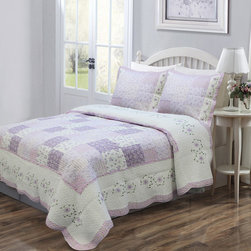 None - Love of Lilac 3-piece Quilt Set and Optional Sham Separates - Spring is in full bloom in this quilt set,fashioned from a patchwork of lavender purple and white with a hint of green floral prints. The quilt has scalloped hem with a detailed embroidered edge and reverses to a mini lavender floral print.