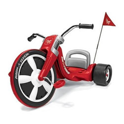 Radio Flyer Products - Radio Flyer Big Flyer - Performance grip tread. Real chrome handlebars. Realistic gauges. Comfortable molded handgrips. 3-position adjustable seat. Mega-wide rear slicks. Racing pennant for child safety. Ages 3-7