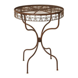 Deer Park Ironworks - Deer Park Ironworks Daisy Ribbon Bistro Table Multicolor - DT307 - Shop for Tables from Hayneedle.com! Transport your patio to a simpler time of beauty grace and sophisticated elegance with the Deer Park Ironworks Daisy Ribbon Bistro Table. Crafted from durable heavy gauge metal with a baked-on powder-coated finish for protection from the elements this beautiful table features a sweet daisy ribbon design and natural patina appearance which gives it a gorgeous aged look. A beautiful addition to your patio or deck you'll love spending time at this table while enjoying your favorite tea a cold drink or a glass of wine with a friend. About Deer Park Ironworks LLCYou'll immediately recognize a yard that's been appointed with pieces from Deer Park thanks to the classic wrought iron designs and traditional finish that has made them an power player in the outdoor furniture industry. Dedicated to creating value for their customers with durable quality pieces of functional and ornamental wrought iron Deer Park continues to provide timeless designs while never sacrificing customer service and satisfaction as their pursue their corporate goals.
