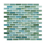 "Rocky Point Tile - Rip Curl Green and Blue Hand Painted Glass Mosaic Subway Tile, Mixed, 4"" X 6"" Sa - Sail away from your troubles by surrounding yourself with these blue and green hand-painted tiles. Gaze deeply at the captivating brush strokes and feel the calm wash over you."