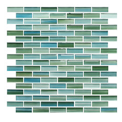 Rip Curl Green and Blue Hand Painted Glass Mosaic Subway Tile