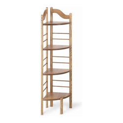 "Manchester Wood - Corner Baker's Rack - Features: -Ideal for the bath, kitchen, bedroom, or family room.-Can fill open corners of any room.-Made in USA.-Solid ash construction.-Stain resistant lacquer finish.-4 Shelves to hold books, towels, and stuffed toy collections.-Distressed: No.-Powder Coated Finish: No.-Shelf Material: Solid wood.-Rust Resistant: No.-Fade Resistant: No.-Scratch Resistant: Yes.-Weather Resistant or Weatherproof: No.Dimensions: -Overall Height - Top to Bottom: 52"".-Overall Width - Side to Side: 18"".-Overall Depth - Front to Back: 11"".-Overall Product Weight: 16 lbs.-Shelf Height: 11.5"".-Shelf Width - Side to Side: 16.25"".-Shelf Depth - Front to Back: 11"".-Clearance from Floor to Bottom Shelf: 7""."