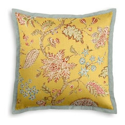 Yellow Delicate Floral Custom Euro Sham - Popped collars, statement necklaces, crisply ironed pants  it's the little details that complete a perfectly tailored look. And the sharp contemporary edging of the Tailored Euro Sham will do just that for your bed.  We love it in this transitional floral in sunny yellow with springy pinks and greens on soft breezy linen.  The perennial favorite floral of Loom Stylists and clients alike!
