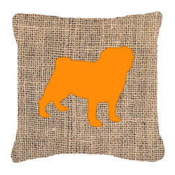 Caroline's Treasures - Pug Burlap and Orange Fabric Decorative Pillow Bb1112 - Indoor or Outdoor pillow made of a heavy weight canvas. Has the feel of Sunbrella fabric. 14 inch x 14 inch 100% Polyester Fabric pillow Sham with pillow form. This pillow is made from our new canvas type fabric can be used Indoor or outdoor. Fade resistant, stain resistant and Machine washable.