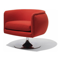 D'urso Swivel Chair by Knoll - I just cannot get enough of swivel chairs lately. They float above the floor and take up less visual space, and besides that, they are FUN. You'll feel like a kid when you take a spin in one! This model is extra cushy and has a classic modern U-shape.
