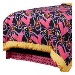 """Sassy Shaylee - Twin Bed Skirt - Bed skirt showcases bold black trimmed in """"Sassy Hearts"""""""