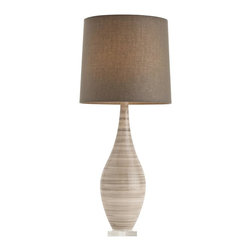 Arteriors - Hunter Lamp - Chic shades of taupe and gray make this table lamp a lovely addition to your contemporary home. A curvy glass body swirled with stripes rests on a clear acrylic base and hoists a tidy drum shade.