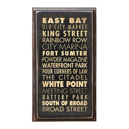 "CrestField - Charleston, SC Points of Interest Decorative Vintage Style Wall Plaque / Sign - This vintage style wall plaque is hand made to commemorate the points of interest in Charleston. The pine board has a quarter round routed edge and is sized at 7.25"" x 13"" x .75"". The surface is finished with my ""flatter than satin"" poly finish with a saw tooth hanger on the back. Would look great in any decoration project, home or office."