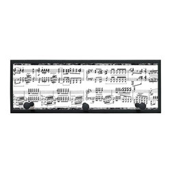 illumalite Designs - Musical Notes Plaque Coat Rack with Pegs - This great plaque is perfect for any music lover. Black notes create a symphony against a white background.. Measuring 7 in. by 20.5 in., this plaque is the ideal way to decorate any wall. Features 3 painted wooden pegs to hold anything from coats to keys!  The handpainted black colored border highlights the fun design