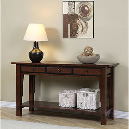 None - Talisman 3-drawer Console Table - This refined modern console table has a versatile design that can be used in your entryway, hallway, living or dining room, or even a bedroom. Three drawers, a convenient lower shelf, and a beautiful walnut cherry finish set this solid piece apart.