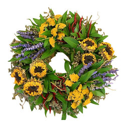 Creekside Farms - Sunflower Herb Wreath - Dried sunflowers, yarrow, blue salvia, chili de arbol, curly willow, marjoram, and bay come together to make this a vibrant, lush, and fragrant wreath.
