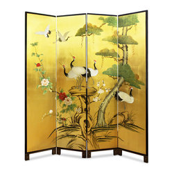 China Furniture and Arts - Hand-Painted Gold Leaf Floor Screen - Well known in Chinese culture, the crane and the pine tree are paired to symbolize longevity. Hand-painted on gold-leafed surface, our four-panel floor screen not only provides artistic decoration but is also an indispensable item for Feng Shui arrangement. Gold bamboo trees are softly painted on the back against black background.