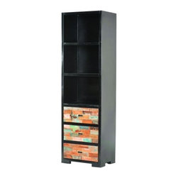 "YOSEMITE HOME DECOR - Book Case - A unique combination of wood and metal turns and ordinary bookcase into something extraordinary. An all metal aged black metal cabinet is accented by  three solid mango ""color block"" wood drawer faces. Two upper metal shelves provide extra storage space. Use alone or combine with the media center and bridge for the ultimate entertainment storage unit. Assembled and Made in India.  Overall Item Dimension is 24""Wx16""Dx78""H"