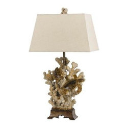 CAL Lighting - CAL Lighting 29 in. Sand Stone Coral Table Lamp BO-2476TB - Shop for Lighting & Fans at The Home Depot. This coastal table lamp rests on a sturdy walnut finish base. This lamp sets a nice tranquilizing atmosphere to any room with it's coral and shiny sea turtle decor. It is topped with a coral decor finial.