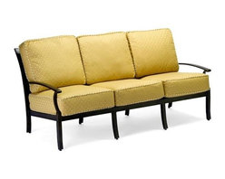 Woodard - Sutherland Cushion Sofa - Slat Back (Neitling) - Fabric: Neitling. All products are made to order. Orders cannot be cancelled after 5 calendar days. If order is cancelled after 5 calendar days, a 50% restocking fee will be applied. Aluminum frame. Sutherland Cushion. Seat Height: 18 in. H. 36.5 in. D x 77 in. W x 34.5 in. H