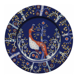 Iittala - Taika Salad Plate, Blue - You'll be proud to serve on this charming porcelain peacock. The imaginative pattern has an old-world, fairy-tale vibe sure to delight everyone gathered at your table.