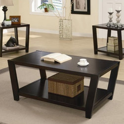 Coaster - 3-Pc Storage Occasional Table Set - Includes one coffee table and two end tables. Contemporary style. Rectangular shape. Lower shelves for storage. Rich cappuccino finish. End table: 24.75 in. W x 24 in. D x 23 in. H. Coffee table: 48 in. W x 24 in. D x 19 in. H. WarrantyPlace in your contemporary living room, top with a metallic lamp or decorative accents and enjoy the clean, modern design of this occasional table set for years to come.