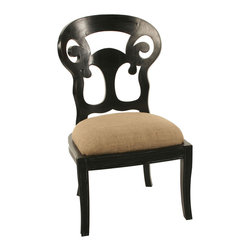 Saragossa Side Chair - Hand Rubbed Black - Elaborate upon your d�cor with the Saragossa Side Chair's splendid yet whimsical fretwork back, serving as an elegant screen surrounding your table or a graceful silhouette in a corner or against a window.  Whether as a dining or an occasional chair, this handsomely-made piece with its saber legs and upholstered seat provides beautiful curves and dramatic outlines that together offer a rich, lively French-inspired note in your home.