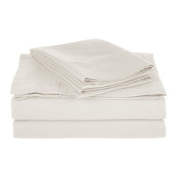 Cotton Rich 800 Thread Count Solid Sheet Sets - California King - White - Dress up your bedroom decor with this luxurious 800 thread count Cotton Rich sheet set. A superior blend of materials makes these sheets soft, easy to care for and wrinkle resistant. Set includes One Flat Sheet 108x102, One Fitted Sheet 72x84, and Two Pillowcases 20x40 each.