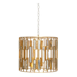 """Worlds Away - Worlds Away ChRialto Chandelier Pendant Medium - Circling the medium Worlds Away ChRialto chandelier pendant, retro mirrored rectangles intersect straight lines to reflect geometric panache. The modern light fixture's gold finish illuminates dining rooms with glamorous style. Gold leafed iron; Accepts three 40W chandelier bulbs (not included); Hardwired; Canopy included; 20"""" Dia x 17""""H; Chain: 3'L"""