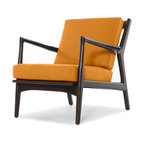 Thrive Furniture - Eisenhower Mid Century Modern Chair - Klein Citrus Orange - Eisenhower Chair named after the Eisenhower Era and inspired by Mid Century Modern Designer Kofod Larsen. Larsen is known for his chairs that have contrasting wood and leathers or fabrics. This Danish style chair will bring a classic vintage feel to your space. All orders are made-to-order available in fabric and leather. We use eco-friendly manufacturing processes with sustainable materials. FREE Fabric Samples Available - Please ask! Made in the USA. Items are custom made-to-order and shipped in 7 business days.