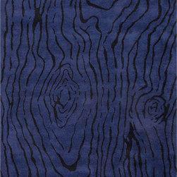 None - Handmade Blue/ Black Wool Plush Pile Rug (8 x 11) - Handmade Blue/ Black Wool Plush Pile Rug (8 x 11)