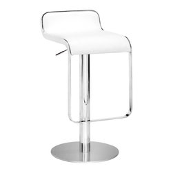 Zuo - Equino Barstools, White - The Equino barstool is comfortable and stylish. A subtle back and flat seat make this barstool modern and cool.  It has a washable leatherette seat, chrome plated steel frame, matte silver base, and adjustable lift from counter to bar.  These durable, high-quality barstools are perfect for the counter with kids.