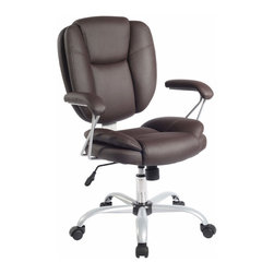 Techni Mobili - Techni Mobili Plush Task Chair in Brown - Plush Task Chair in Brown by Techni Mobli The Techni Mobili Plush Task Chair features double pillow cushioning on the seat and back along with padded armrests under Techniflex upholstery, a premium synthetic leather. The pneumatic seat height adjustment lever provides a 4 inch seat height range and also a lock for the chair tilt feature which can be adjusted with the tension control knob. The heavy-duty 5-point powder-coated steel base with non-marking nylon wheels make this chair both durable and stable. COLOR: Chocolate.  Office Chair (1)