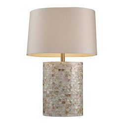 Dimond Lighting - Dimond Lighting Trump Sunny Isles 1-light White Mother of Pearl Table Lamp - The Trump Sunny Isles Table Lamp features a beautiful white mother of pearl finish that establishes a luxurious feel. Complimented by a Milano off-white shade, this lamp is sure to brighten up your home decor.