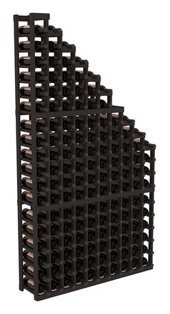 Wine Racks America - Wine Cellar Waterfall Display in Pine, Black - A beautiful cascading waterfall of wine bottle displays. Create a spectacle of 9 of your favorite vintages. Designed within our modular specifications and to Wine Racks America's superior product standards, you'll be satisfied. We guarantee it.