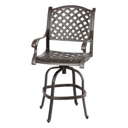 darlee - Darlee Nassau Cast Aluminum Patio Swivel Bar Stool - Antique Bronze - Item #DL13-7