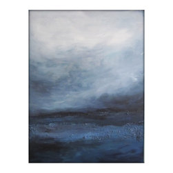 Original Abstract Canvas Modern Acrylic Painting - 30x40 - Gina Perillo - Large dark seascape abstract painting on canvas