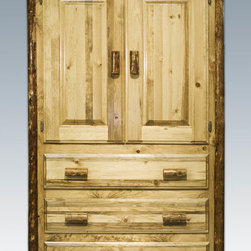 """Montana Woodworks - Glacier Country Armoire - This rustic, handcrafted armoire will bring rustic charm into any room of your home. The armoire can be used for a variety of purposes from wardrobe storage to securely displaying your television monitor or display. Made from solid, American grown wood, the edge glued panels utilized in the armoire and other Montana Woodworks """"Glacier Country"""" furniture is nicely finished in a truly unique, one-of-a-kind look reminiscent of the Grand Lodges of the Rockies, circa 1900. First we remove the outer bark while leaving the inner, cambium layer intact for texture and contrast. Then the finish is completed in an eight step process that applies stain and lacquer for a beautiful, long lasting finish. Two raised panel doors conceal a large (appx. 40W x 22D x 38H) storage area. The three drawers each measure 33"""" W x 16"""" D and feature easy glide drawer slides for years of trouble free use. A one-inch removable dowel spans the width of the inside to allow for hanging of clothing. Comes fully assembled. 20-year limited warranty included at no additional charge. Hand Crafted in Montana U.S.A.; Solid, U.S. grown wood; Unique, one-of-a-kind Glacier Country style.; Heirloom Quality; 20 Year Limited Warranty; Durable Build, Fit and Finish; Each Piece Signed By The Artisan Who Makes It; Solid Wood, Edge Glued Panels; Easy Glide Drawer Slides. Dimensions: 45""""W x 25""""D x 72""""H"""