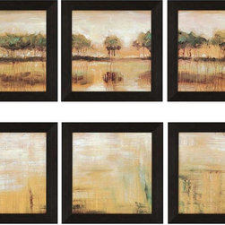 Paragon Decor - Tiverton Lake Set of 6 Artwork - This lovely landscape works even better as a grouping.