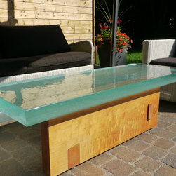 "Thick Outside Glass Table - Great looking outside coffee table made of very thick glass  on a custom made spanish cedar wood base. Glass is 22""x60"", 3"" thick by ThinkGlass - Spanish Cedar Base by Concept Giroux"