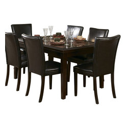 Homelegance - Homelegance Belvedere 8 Piece 60 Inch Dining Room Set - The beveled wood edge of these burnished espresso finished tables softens the transitional Belvedere collection. Inset display shelving and decorative faux marble inlay further compliment the design.