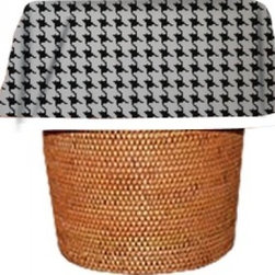 """Designerliners Inc - Black Tattersol Waste Basket Bags Decorative - Reusable -Biodegradable - 12 Pack - Designerliners decorative waste basket bags enhance any room in your home that has a waste basket. Designerliners come packed """"inside out"""" such that when placed inside a waste basket, the design shows on the inside of the container and then flows over the outer lip to form a beautiful outer border. Designerliners are made in the USA from strong 1 mil thick biodegradable plastic. Black Tattersol Designerliners measure 24 x 24 inches. Available in 12-packs and economy 100-packs."""