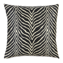Frontgate - Scalamandre Zebra Euro Decorative Pillow - Each includes a high-quality down fill pillow insert. 69% rayon/31% cotton construction. All feature zippered closures. Because these are specially made to order, please allow 4-6 weeks for delivery. Dry clean only. Bring vibrancy and deep hues to a couch, chair, or bed with exotic Scalamandre Decorative Pillows. Iconic images of zebras and arrows and matching patterns coalesce with rich, solid colors and contemporary designs. Dress up a family room or bedroom with these bold, functional accessories.. . . . . Made in USA.