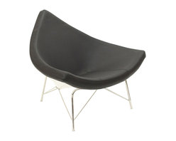 LexMod - George Nelson Style Coconut Chair in Black Leather - Increase your auditory awareness with this regulating piece of comfort. Sit peacefully in the Coconut Chair as the powerful portrayal of life is lived around you. With a supportive steel base and triangular foam cushion upholstered in fine aniline leather, develop your sense of equilibrium as you expand your emotional breadth to the greatest possible extreme.
