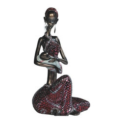 GSC - 14.75 Inch African Lady Holding Baby Figurine - This gorgeous 14.75 Inch African Lady Holding Baby Figurine has the finest details and highest quality you will find anywhere! 14.75 Inch African Lady Holding Baby Figurine is truly remarkable.