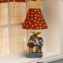 Cotton Tale Designs - Pirates Cove Decorator Lamp - A quality baby bedding set is essential in making your nursery warm and inviting for your newborn. All Cotton Tale patterns are made using quality materials and are uniquely designed to create your perfect nursery. Part of the Pirates Cove collection, this decorator lamp has wooden cut-outs of the pirates and palm tree and is topped with a red polka dot print shade sits securely on the base. Spot clean only. Lamp stands 15 inches tall. Max bulb recommended is 40 watt. Perfect for your little boy or your little girl.